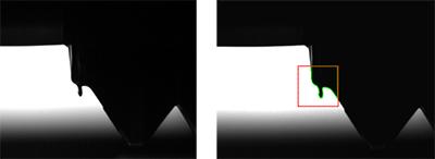 Oberflächenkontrolle Anwendungsbeispiele Überspritzung (Fähnchen)