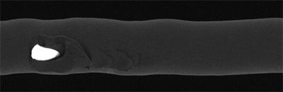 Oberflächenkontrolle: Oberflächenschäden auf Kabelmantel